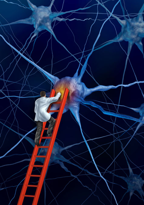 illustration of doctor is lab coat climbing ladder to attend to brain function